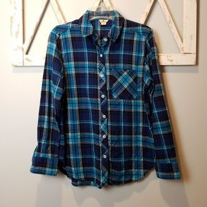 Woolrich blue plaid flannel button down small